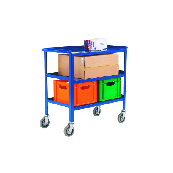 VFM Service Trolley 3-Tier With 125mm Castors Blue 306748
