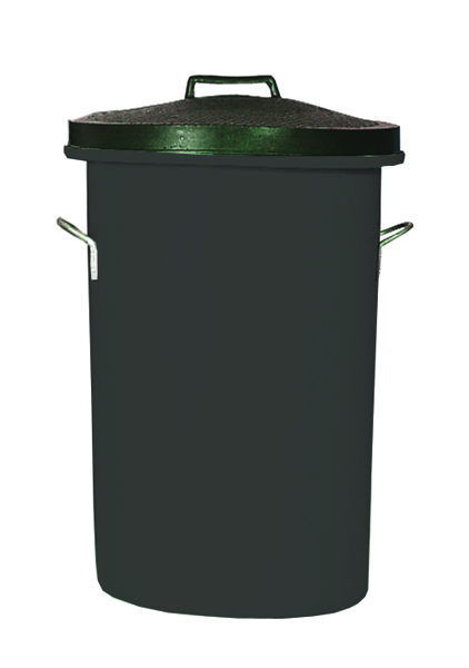 Black Heavy Duty Cylindrical Storage Bin With Lid 311960