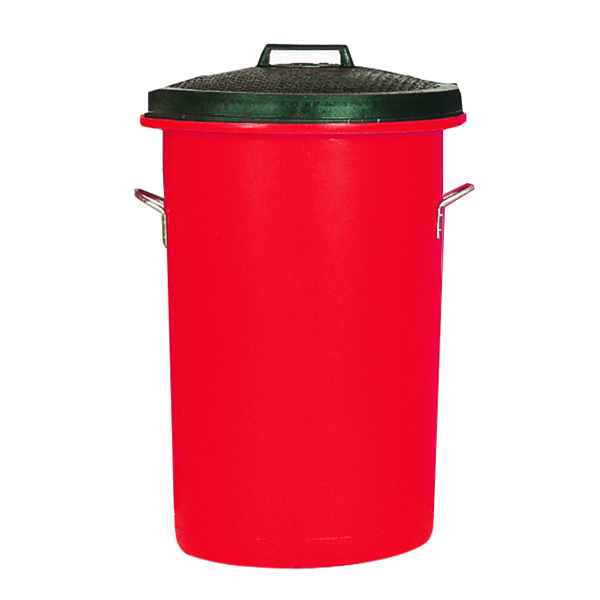 Heavy Duty Coloured Dustbin Red 85 Litre 311969