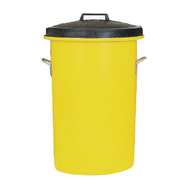 Heavy Duty Coloured Dustbin Yellow 85 Litre 311971