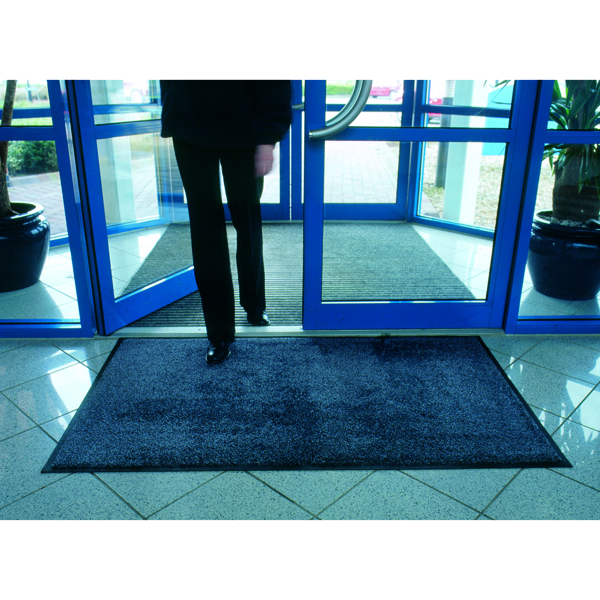 VFM Black /Blue Economy Washable Entrance Mat 1150x1750mm 312428