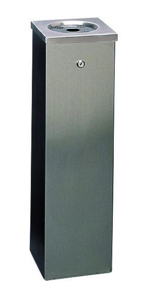 Silver Flat Top 6.6 Litre Cigarette Ash Tower Bin 316015