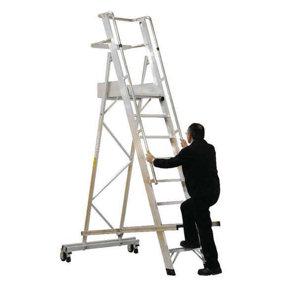 Aluminium 14 Tread Folding Mobile Step Ladder 316028