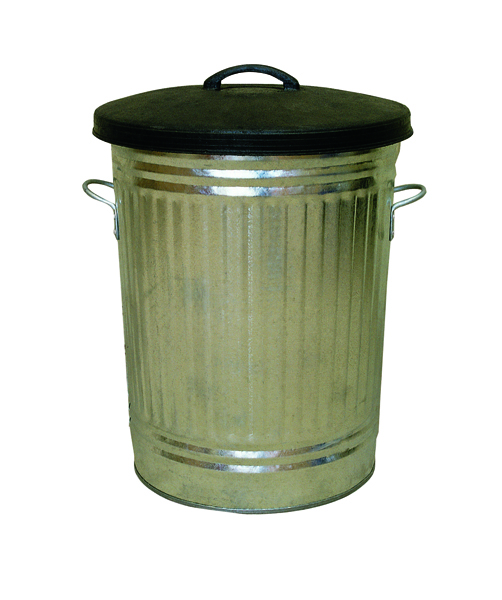Galvanised 90 Litre Dustbin With Rubber Lid 316625