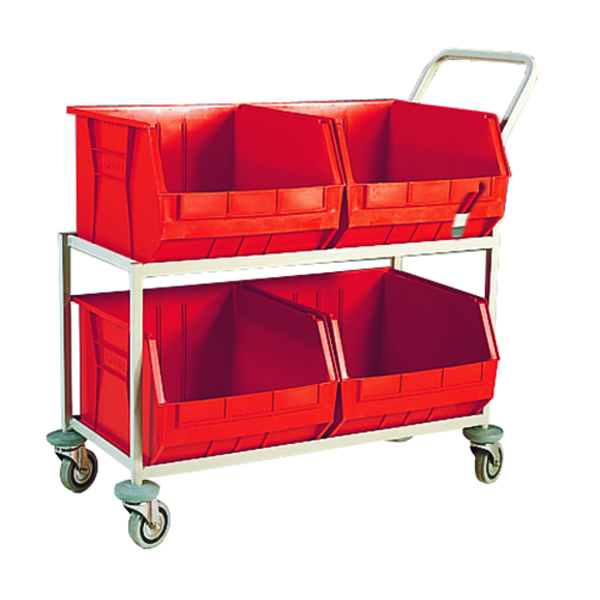 Red Mobile Storage Trolley c/w 4 Bins 321297