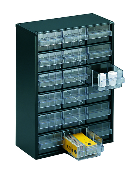 Image for Clear 18 Drawer System Dark Grey Storage Cabinet 324117