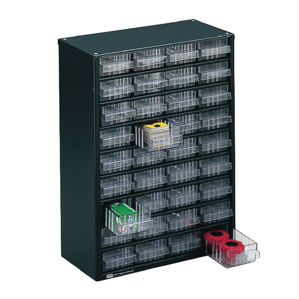 Image for Clear 36 Drawer System Dark Grey Storage Cabinet 324160
