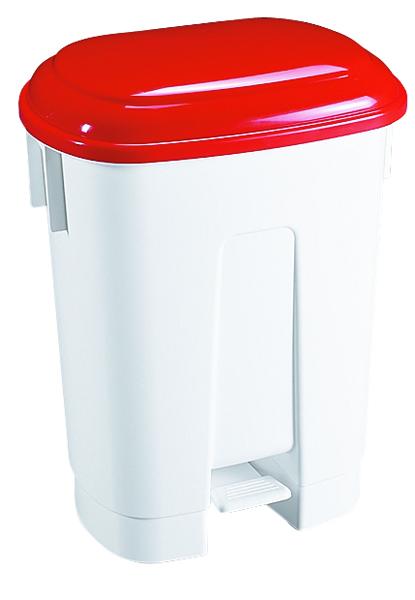 Derby Plastic Pedal Bin 60 Litre White/Red 348012