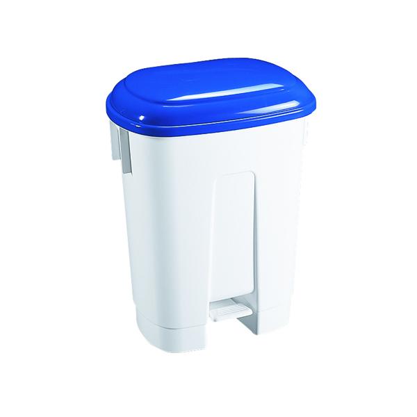 Derby Plastic Pedal Bin 60 Litre White/Blue 348013