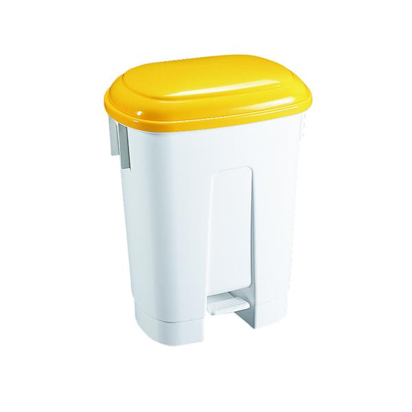 Derby Plastic Pedal Bin 60 Litre White/Yellow 348014