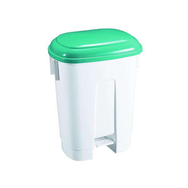 Derby Plastic Pedal Bin 60 Litre White/Green 348015