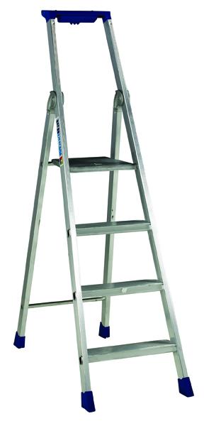 4 Ribbed Tread Platform Step Ladder Aluminium 358754