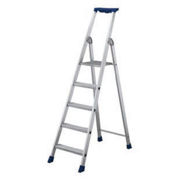 7 Ribbed Tread Platform Step Ladder Aluminium 358757