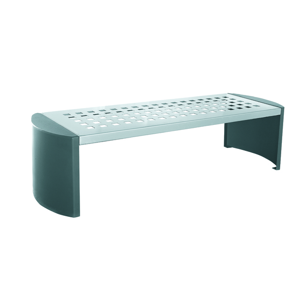 Image for Silver and Black Cast Iron Backless Bench 370111
