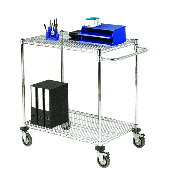 2-Tier Chrome Mobile Trolley 372995