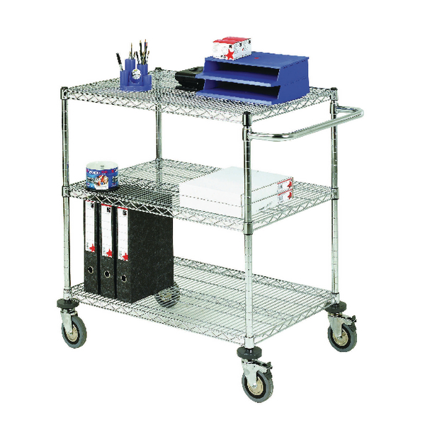 3-Tier Chrome Mobile Trolley 373004