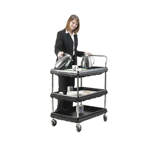 3 Tier Black W984xD689xH1041mm Deep Ledge Trolley 375056