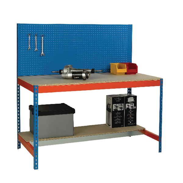 Image for Blue and Orange Workbench With Backboard and Lower Shelf 1200x750mm 375517