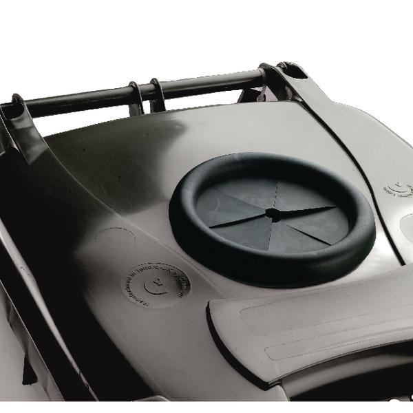 Wheelie Bin 360L With Bottle Bank Aperture and Lid Lock Grey 376849