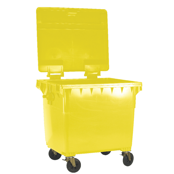 Yellow Wheeled 770 Litre Bin With Flat Lid 377389