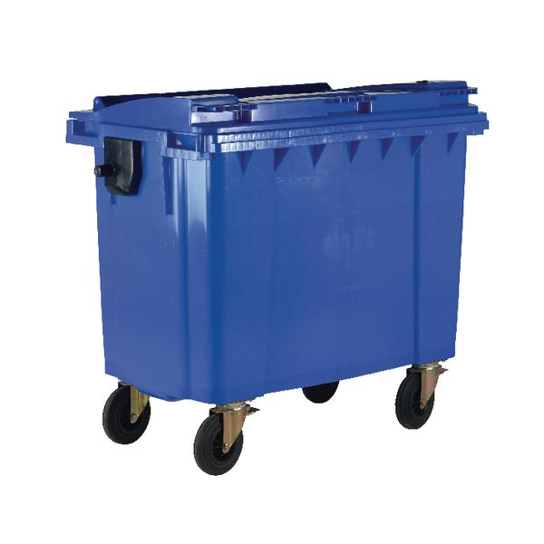 Blue Wheeled 1100 Litre Bin With Flat Lid 377394
