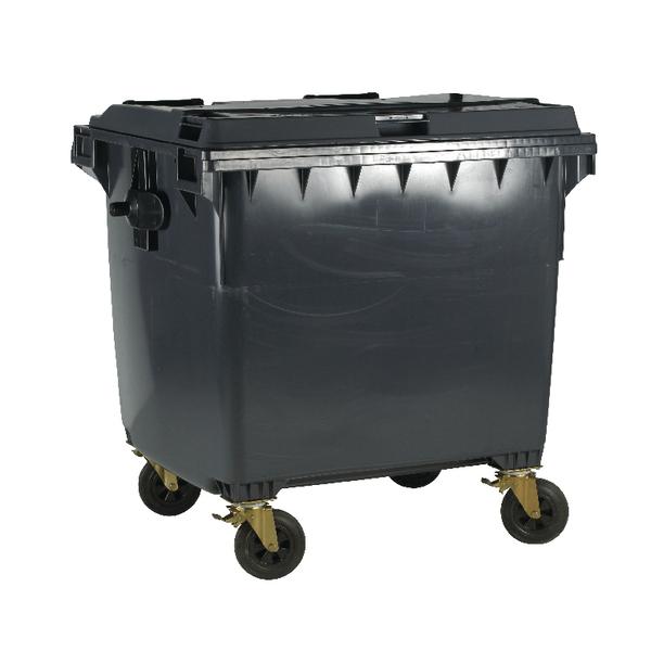 Grey Wheeled 1100 Litre Bin With Flat Lid 377396