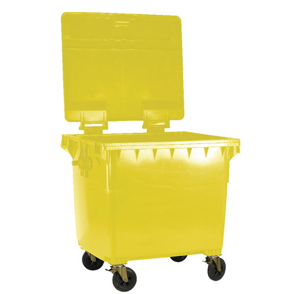 Yellow Wheeled 1100 Litre Bin With Flat Lid 377397