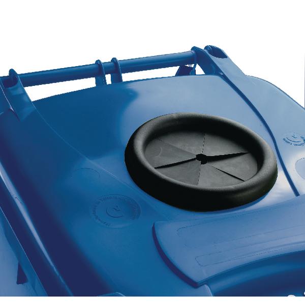 Wheelie Bin 240L With Bottle Bank Aperture and Lid Lock Blue 377866