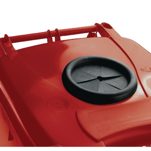 Wheelie Bin 360L With Bottle Bank Aperture and Lid Lock Red 377872