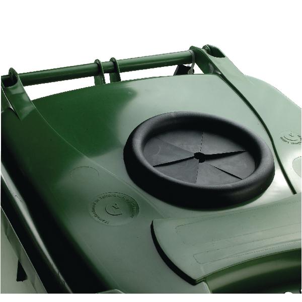 Wheelie Bin 140L With Bottle Bank Aperture and Lid Lock Green 377875
