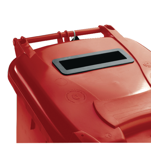 Red Confidential Waste Wheelie Bin 120 Litre With Slot and Lid Lock 377902