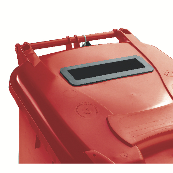 Red Confidential Waste Wheelie Bin 140 Litre With Slot and Lid Lock 377903