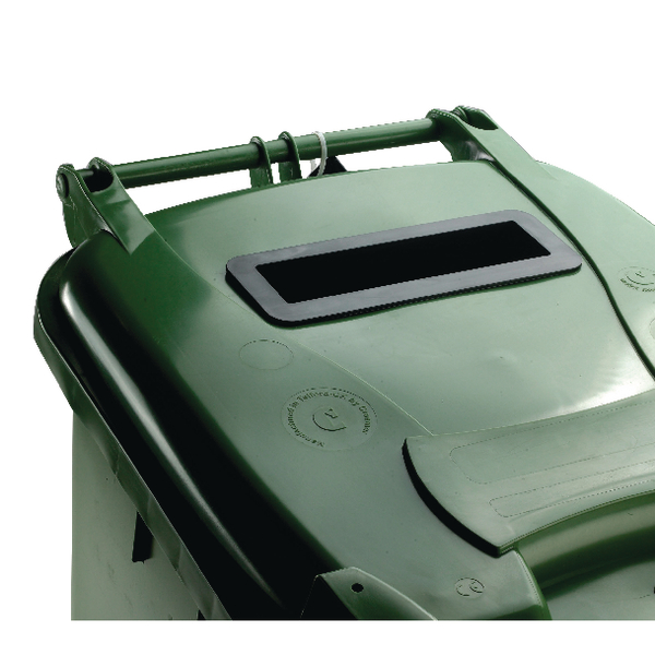Green Confidential Waste Wheelie Bin 240 Litre With Slot and Lid Lock 377916