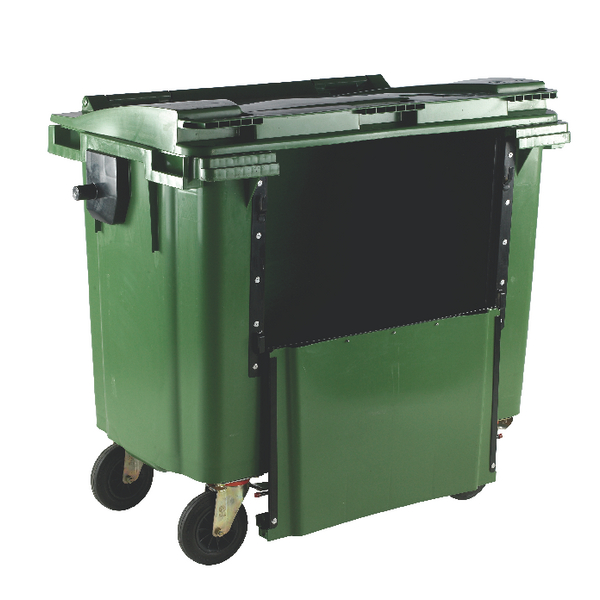 Green 1100 Litre Wheeled Bin With Drop Down Front and Flat Lid 377975