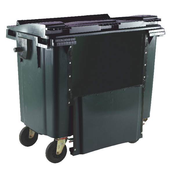 Grey 1100 Litre Wheeled Bin With Drop Down Front and Flat Lid 377976