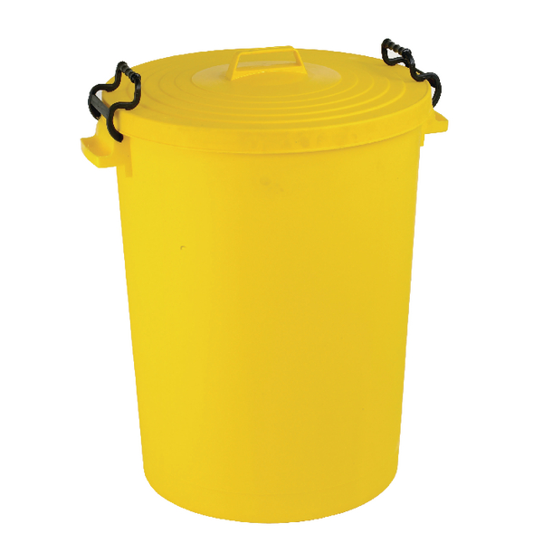Yellow Light Duty 110 Litre Dustbin With Lid 382069