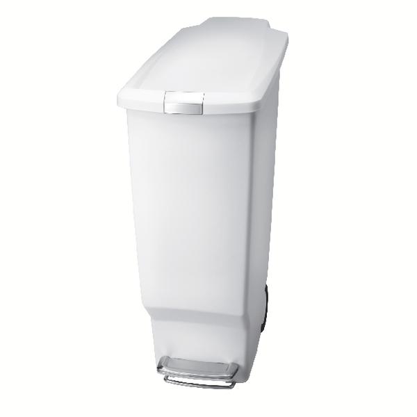 White Slim Plastic Pedal Bin 40L 382649