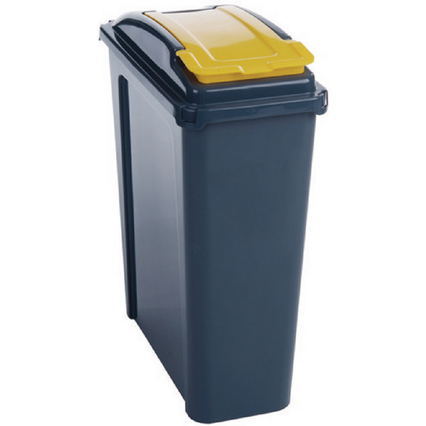 VFM 25 Litre Yellow Recycling Bin With Lid 384283