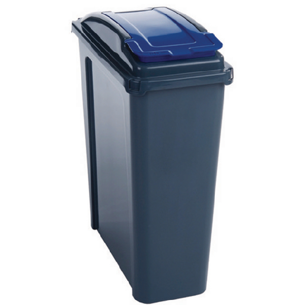 VFM Recycling Bin With Lid 25 Litre Blue