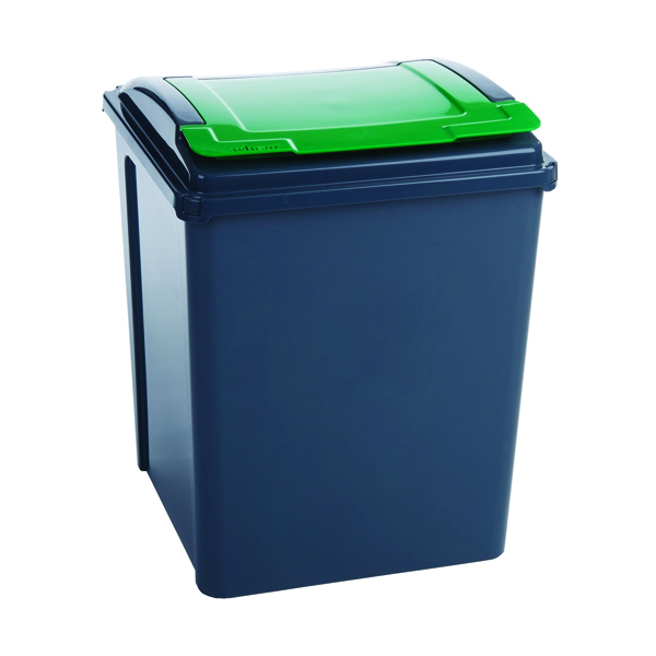 VFM Recycling Bin With Lid Green 50L Grey/Green 384288
