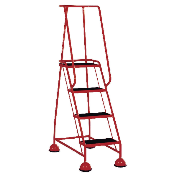 Red 4 Tread Metal Rubber Steps 125kg Max