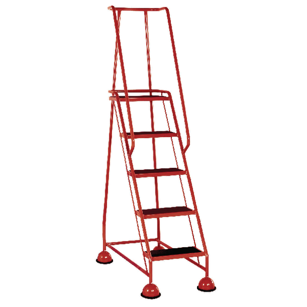 Red 5 Tread Metal Rubber Steps 125kg Max