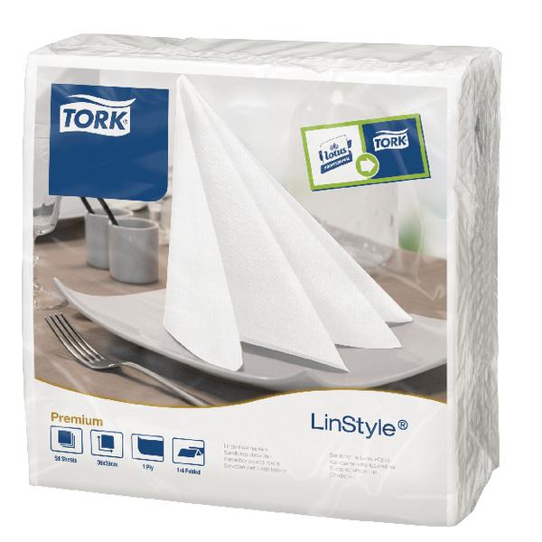 Tork LinStyle Dinner Napkins 4 Fold White (Pack of 50) 478711