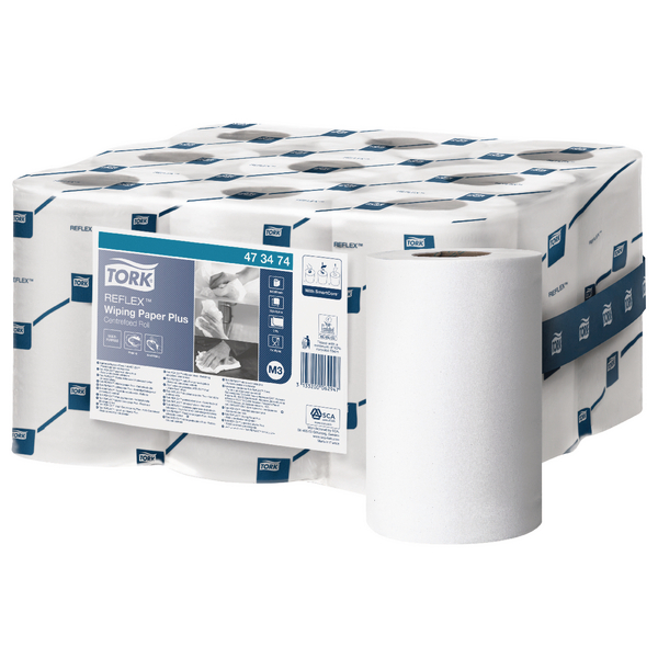 Tork Reflex White 2-Ply Mini Wiper Roll (Pack of 9) 473474