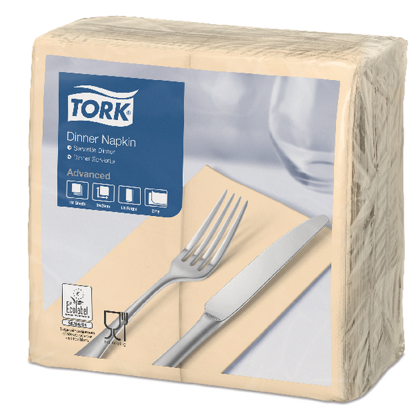 Tork Dinner Napkin 2-Ply 8 Fold Sand (Pack of 150) 477565