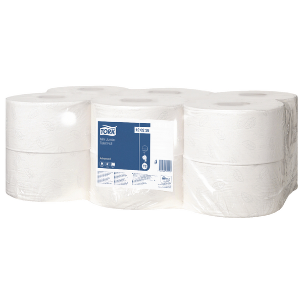 Tork Advanced Hygiene Mini Jumbo Toilet Roll 2 Ply (Pack of 12) 120238