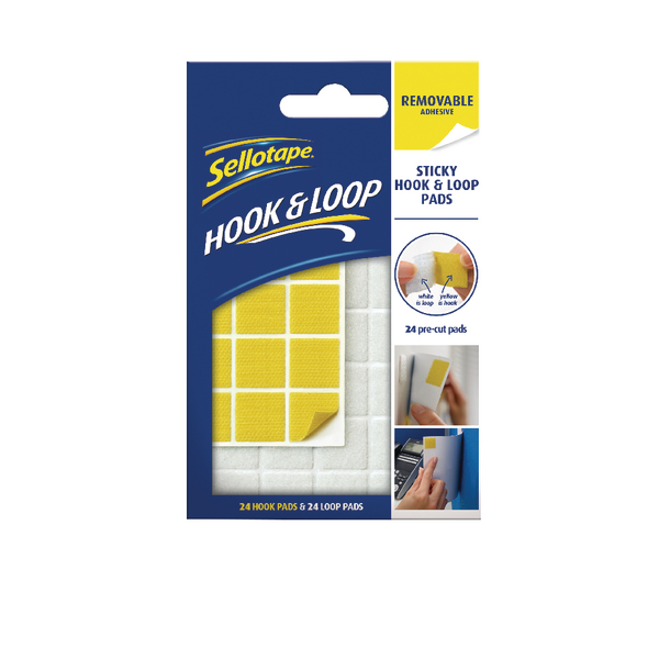 Image for Sellotape Hook and Loop Removable Pads (Pack of 24) 2055468
