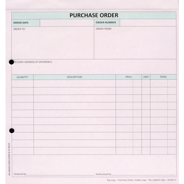 Custom Forms 3-Part Purchase Order Pk50