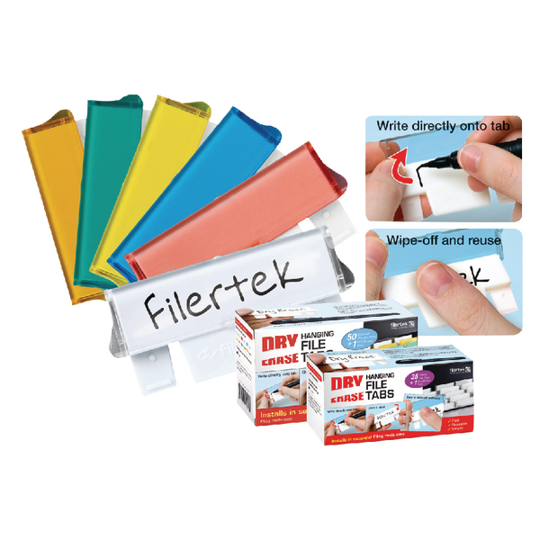 Cathedral Assorted Dry Erase Suspension File Tabs Pack of 50 FPCLIPDRY50ASS