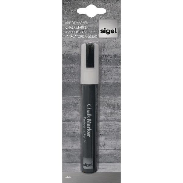 Sigel 50 Chisel Tip 1-5mm White Chalk Markers GL181